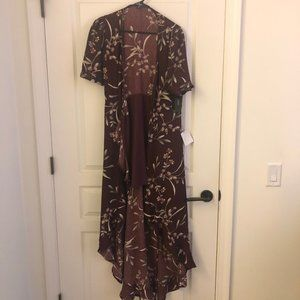 Lulu's Burgandy floral print high-low wrap dress